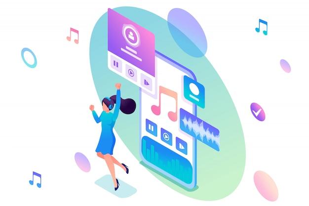 Fille écoute de la musique sur le smartphone via l'application