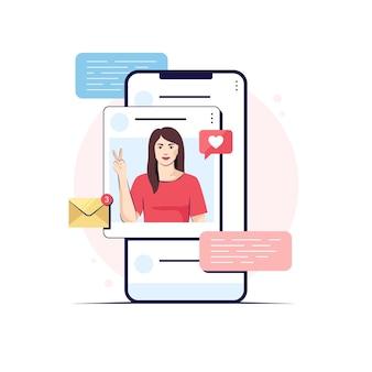 Fille sur un écran d'application, illustration de conception plate de médias sociaux