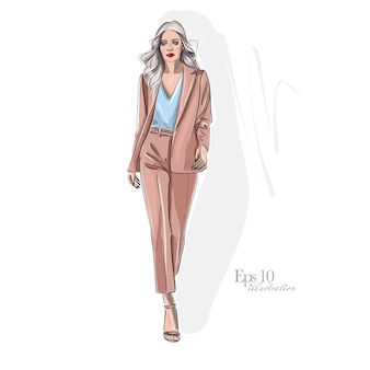 Fille élégante dans des vêtements de mode. belle fille dessinée à la main