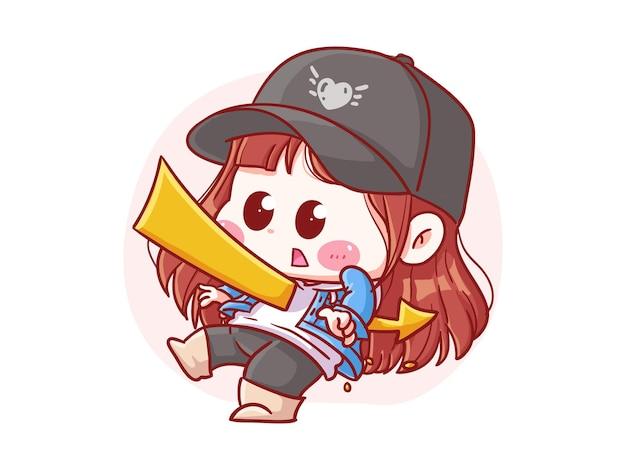 Fille élégante mignonne et kawaii poignardée avec une flèche manga chibi illustration