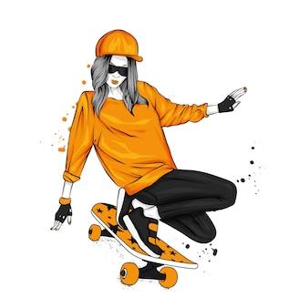 Fille élégante et planche à roulettes, patineur.