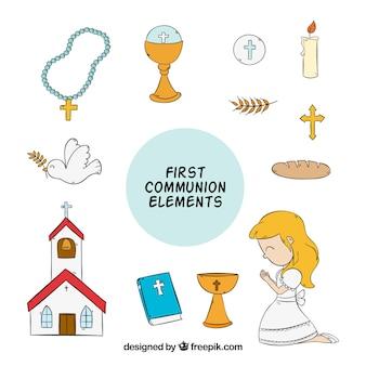 Fille avec les éléments de la première communion dessinée à la main