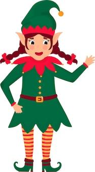 Fille elfe drôle de noël avec des nattes. illustration. personnage de dessin animé.