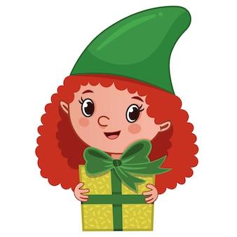 La fille elfe tenant un paquet cadeau