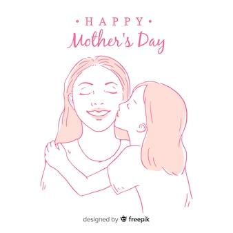 Fille, embrasser, mère, mère, fond, jour