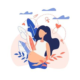 Fille enceinte bannière tenant le ventre plat.