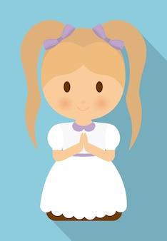 Fille enfant dessin animé icône robe blanc