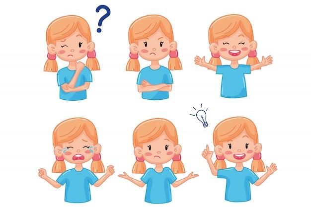 Fille enfant avec différentes émotions. plat. expression du visage