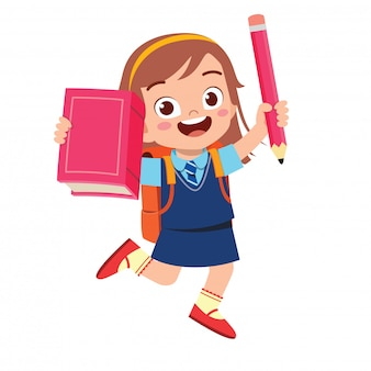 Fille enfant étudiant mignon heureux avec livre et crayon