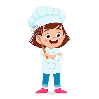 Fille enfant mignon heureux en costume de chef