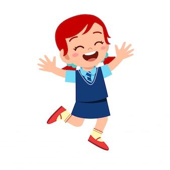 Fille enfant mignon heureux prêt à aller à l'école