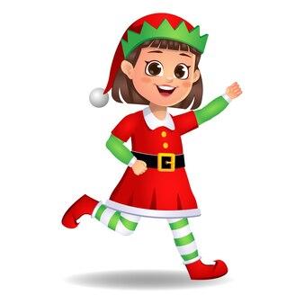 Fille enfant en robe elfe en cours d'exécution