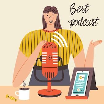 Une fille enregistre un microphone de smartphone podcast. lettrage meilleur podcast. illustration plate de vecteur moderne
