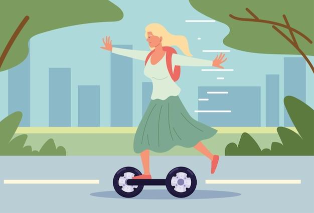 Fille équitation scooter électrique