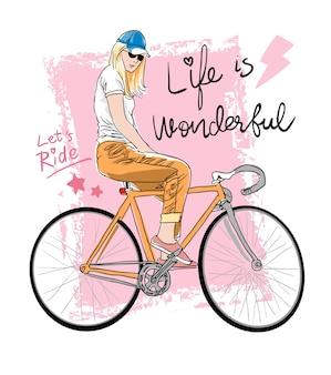 Fille, équitation, vélo, illustration