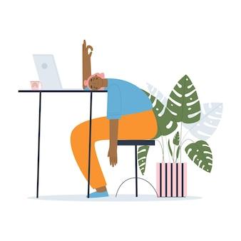 Une fille est allongée face contre terre sur la table un étudiant qui en a marre d'étudier un manager stressé