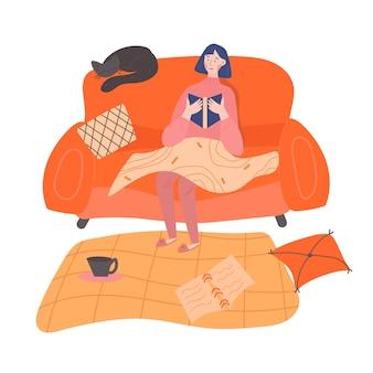 Une fille est assise sur un canapé et lit un livre intéressant le tenant dans ses mains. ambiance chaleureuse et cosy. concept de passe-temps de lecture. illustration de couleur plate. design d'intérieur de la chambre