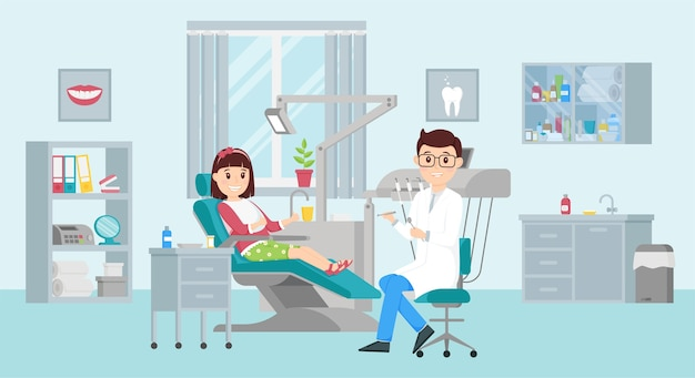 Fille est assise sur une chaise lors d'un rendez-vous chez le dentiste.concept d'un cabinet dentaire. illustration plate.
