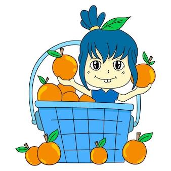 La fille est dans le panier orange. autocollant mignon illustration de dessin animé