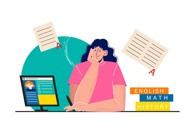 Une fille est engagée avec un enseignant en ligne à la maison plate-forme d'éducation en ligne éducation à domicile