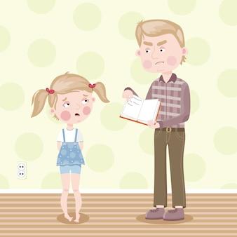 La fille a été blâmée pour de mauvais devoirs