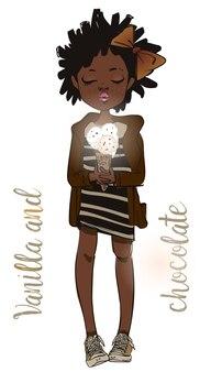 Fille d'été mignonne africaine avec de la crème glacée