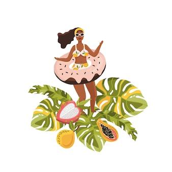 Fille d'été en vacances tropiques