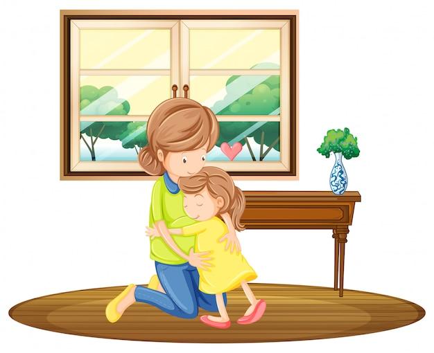 Fille étreignant mère dans la chambre