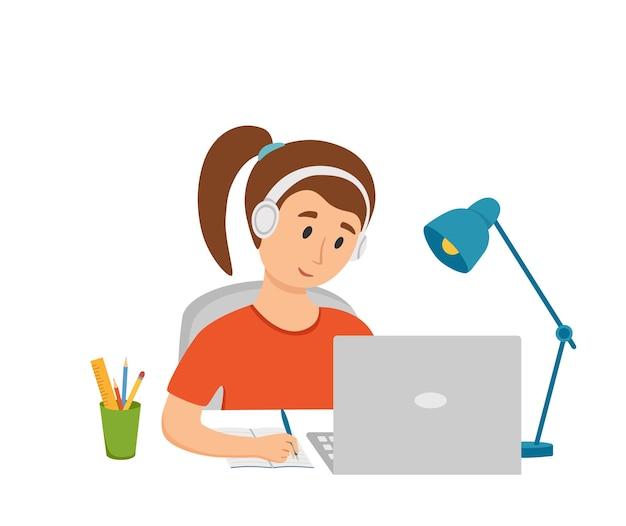 Fille étudiant l'éducation en ligne à l'illustration vectorielle de dessin animé à la maison. ordinateur de bureau sur le lieu de travail des étudiants faisant leurs devoirs en surfant sur le concept de leçon scolaire en ligne. processus d'apprentissage d'enfant d'élève