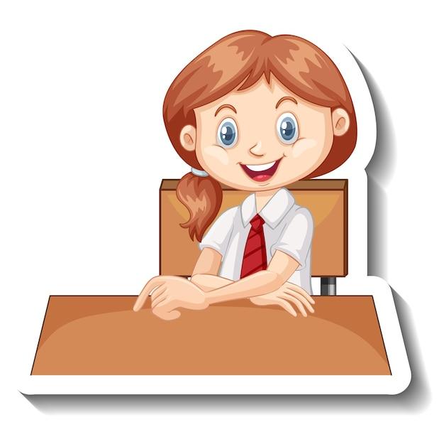Fille étudiante assis à l'autocollant de dessin animé de bureau