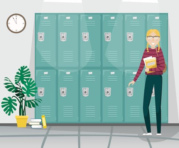 Fille étudiante avec des nattes et des lunettes tient des livres dans sa main.