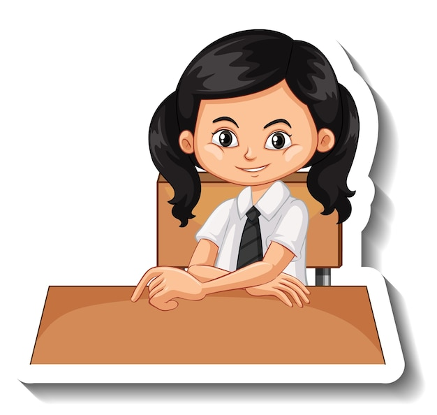 Fille étudiante s'asseoir à l'autocollant de dessin animé de bureau