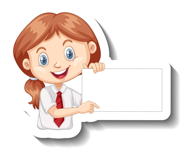 Fille étudiante tenant un autocollant de dessin animé de tableau vide