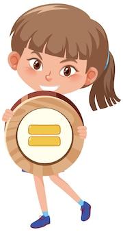 Fille étudiante tenant un symbole mathématique de base ou un personnage de dessin animé de signe isolé sur fond blanc