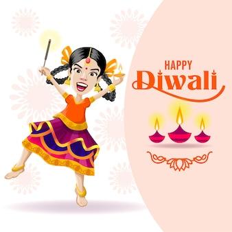 Fille excitée avec cracker et lampe célébrant diwali
