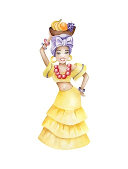 Fille exotique tenant un panier avec des fruits