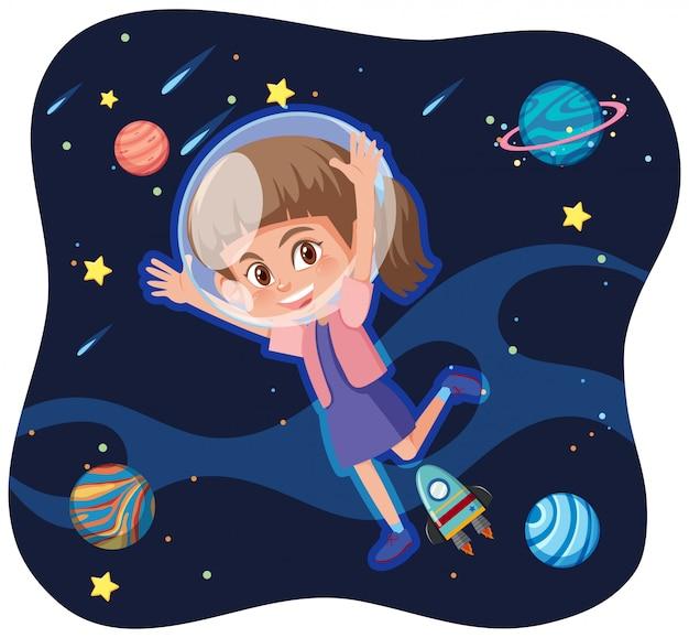 Une fille explorant l'espace