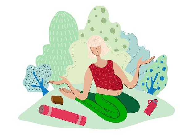 Fille, faire du yoga dans le parc, femme dans le sport, mode de vie sain