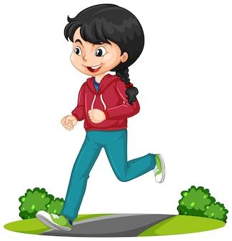 Fille faisant courir le personnage de dessin animé d'exercice isolé