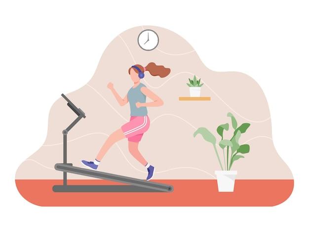 Fille faisant du sport à l'intérieur, mode de vie sain et actif.