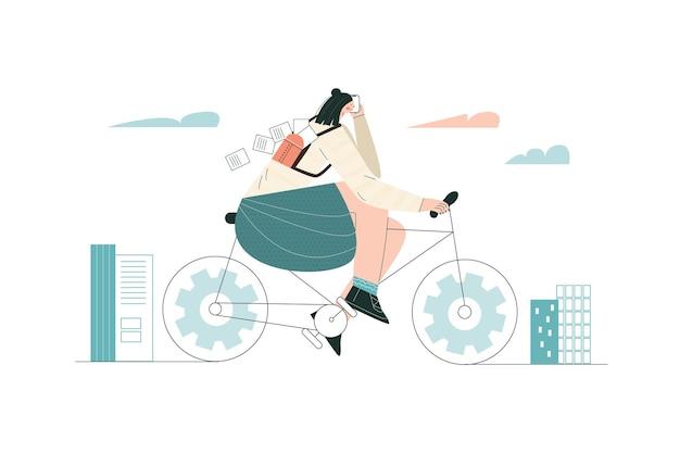 Fille faisant du vélo au travail personnage urbain occupé à vélo femme cycliste se rendant au travail