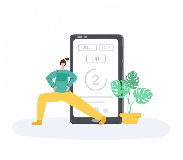 La fille faisant des exercices de sport à la maison, application mobile pour l'entraînement en ligne ou le wokout