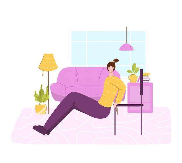 La fille faisant des exercices sportifs à la maison - concept d'entraînement ou d'entraînement en salle. fitness à domicile