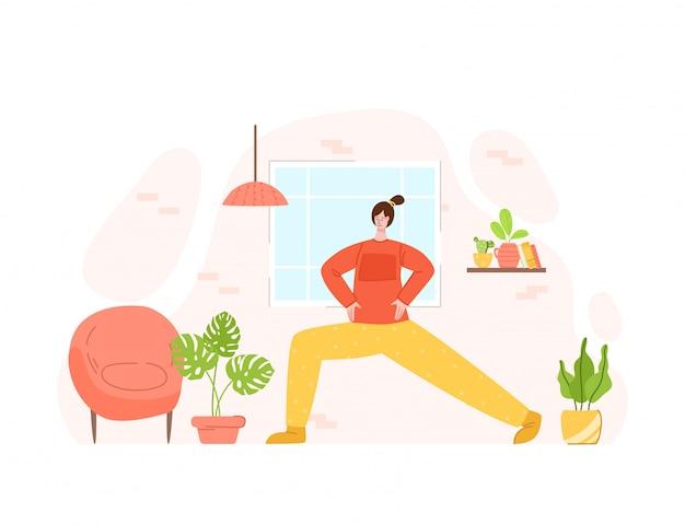 La fille faisant des exercices sportifs à la maison - entraînement ou entraînement en ligne