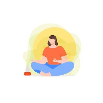 Fille faisant de la méditation