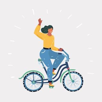 La fille fait du vélo
