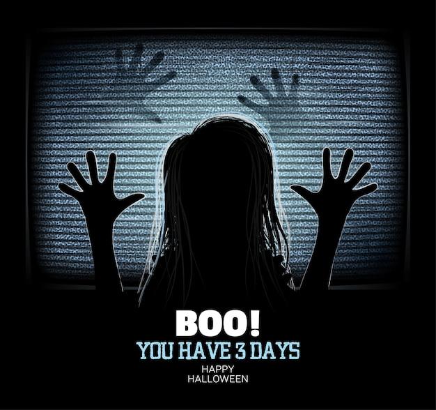 Une fille fantôme émerge à travers un écran de télévision vacillant dans une maison hantée happy halloween poster