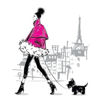 Fille fashion dans un style croquis. portrait de femme fashion.