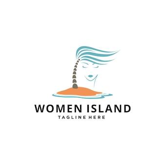 Fille ou femme abstraite d'illustration sur l'île de plage sous le vecteur de conception de signe de palmier