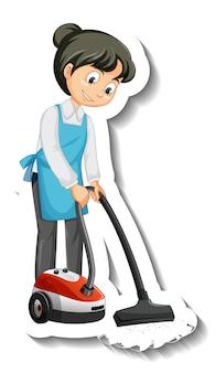 Une fille de femme de ménage utilisant l'autocollant d'aspirateur